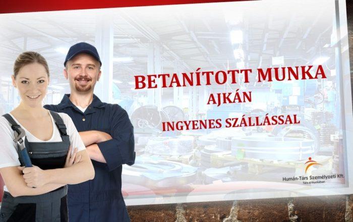 Betanított munkára keresünk munkavállalókat Ajkára (Veszprém megye). Ingyenes szállást, bérelőleget és utazási költségtérítést biztosítunk.