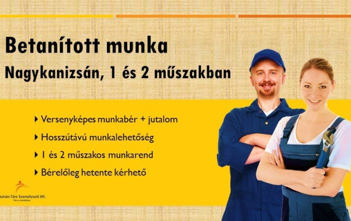 Operátor állás Nagykanizsán, 1 és 2 műszakos munkarendben.