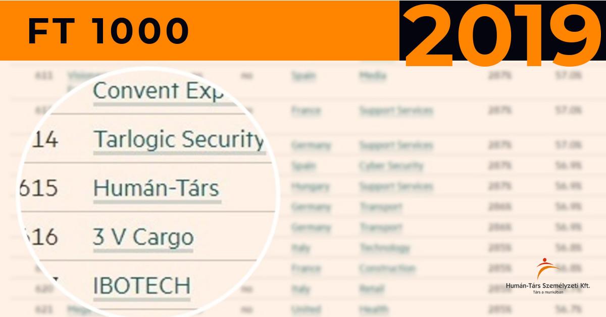 FT1000 Financial Times Európa leggyorsabban növekvő vállalkozásai Humán-Társ Személyzeti Kft. Munkaerő-kölcsönzés Nagykanizsa
