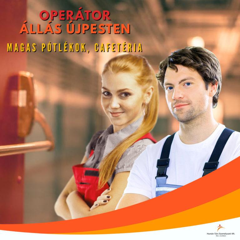 Operátor állás Újpest - 2-3 műszak - humántárs; humantars